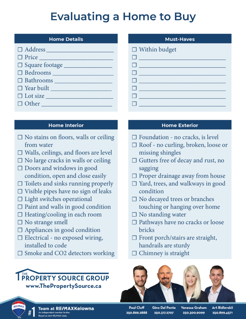 Evaluating a Home to Buy Checklist